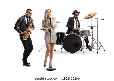 Music band of  drummer, sax player and a female singer isolated on white background