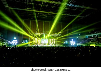 music brand showing on stage or Concert Live and Defocused entertainment concert lighting on stage with Laser rays beams, party concept.