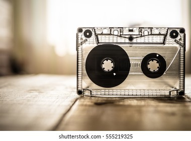 music cassette on the table