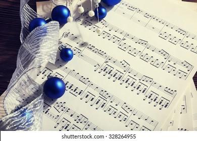 Music and Christmas decor closeup