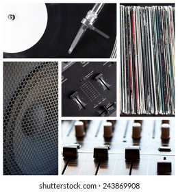 Music club collage with different dj tools