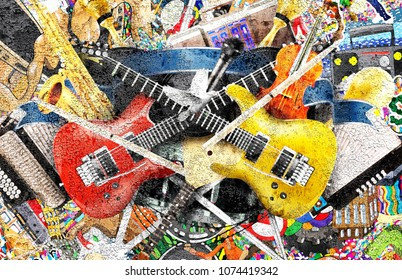 Music collage with guitars on a large wall, graffiti