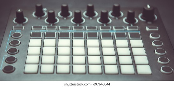 Music composing audio equipment for sound recording studio.Beat maker gear for creating new beats.Compose digital music on beat machine