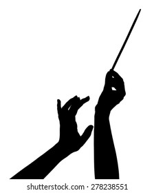 Music conductor hands with stick isolated on white