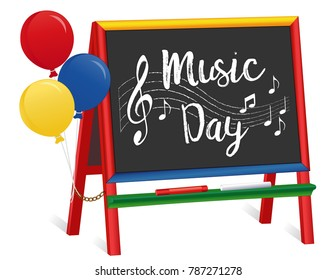 Music Day, balloons, chalkboard easel for children, treble clef, staff, notes, chalk, for preschool, daycare, nursery school, kindergarten. March is national Music Month.
