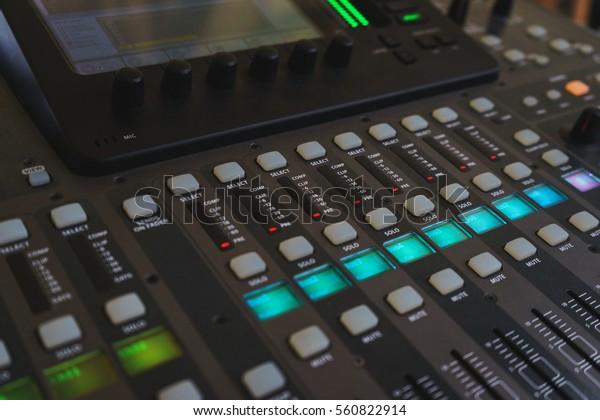 Music Equipment Closeup Management Console Sound Stock Photo