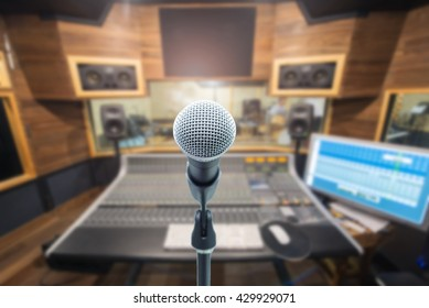 music equipment concept,microphone on recording room