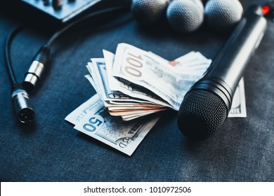 Music equipment, microphones, console and the money to pay the fee