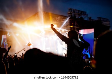 Music fan enjoying night perfomance of famous artist on stage.