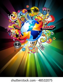 Music Flyer Background for International Global Event With a lot of Abstract Design Elements