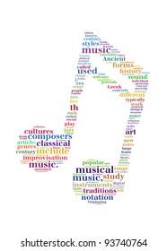 music info-text graphic and arrangement concept