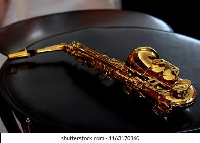Music Instrument Alto Saxophone on black back ground, Saxophone, brass Saxophone, Gold Saxophone, Alto Sax brass Sax, Gold Sax. Music instrument copy Space, Music instrument mock up. Sax mock up,