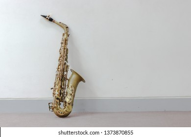 Music Instrument Alto Saxophone on White, Saxophone, brass Saxophone, Gold Saxophone, Sax brass Sax, Gold Sax. Music instrument copy Space, Music instrument mock up. Sax mock up, Music background