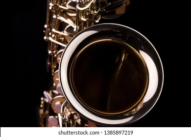 Music Instrument Alto Saxophone on black, Saxophone, brass Saxophone, Gold Saxophone, Sax 			brass Sax, Gold Sax. Music instrument copy Space, Music instrument mock up. 			Sax mock up, Music background