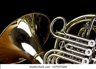 Music Instrument, French, French Horn Player Horn on black Isolated, French Horn on black background, Gold French Horn.