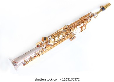 Music Instrument Soprano Saxophone on White back ground,Saxophone, brass Saxophone, Gold Saxophone, Soprano Sax brass Sax, Gold Sax. Music instrument copy Space, Music instrument mock up. Sax mock up,
