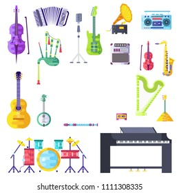 Music instruments brochure cards set.  Audio tools template of flyear, magazines, poster, book cover, banners. Concert invitation concept. Layout illustration modern page background