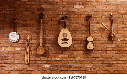 music instruments hang on wall