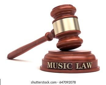 Music law text on sound block & gavel. 3d illustration