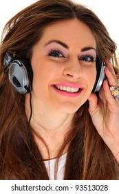 Music Listening Girl on white background