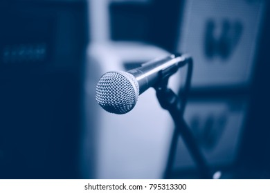 Music microphone in studio