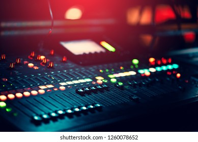 music mixer background with lots of light spots bokeh
