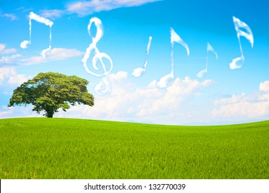 Music note cloud shape floting in the park