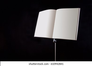 music note stand on a black background