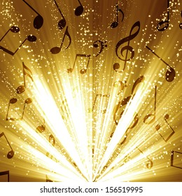 music notes on a soft golden glittering background