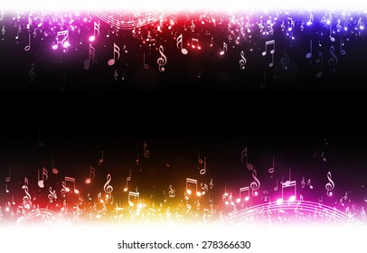 music notes with stars and bokeh lights multicolor background