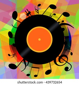 Music notes and vinyl disc on bright colorful abstract background