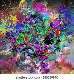 Music on bright colorful background