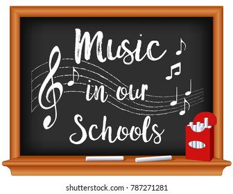 Music in Our Schools Chalkboard, box of chalk, notes, treble clef on wood frame blackboard, March is national Music in Our Schools Month, to promote and celebrate music in education.
