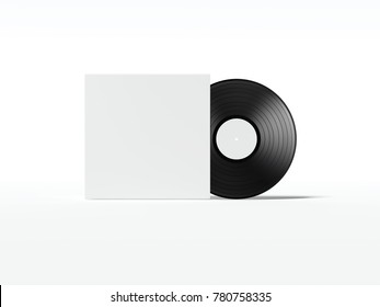 Music plate with blank white cover package. 3d rendering