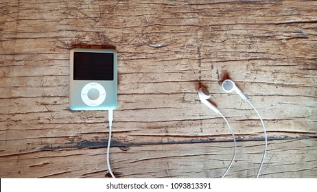 Music player on the wooden table-Background textures