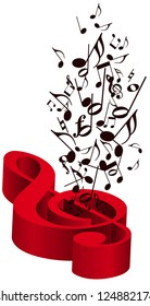 Music with red treble clef