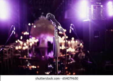 Music set microphone in light before concert