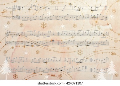 Music sheet background with snow effect