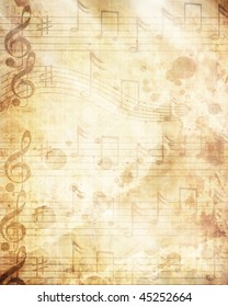 music sheet with some stains on it
