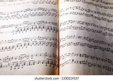 Music sheets on table