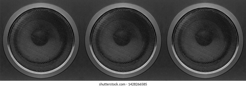 Music and sound - Front view one three bass Subwoofer array loudspeaker enclosure cabinet