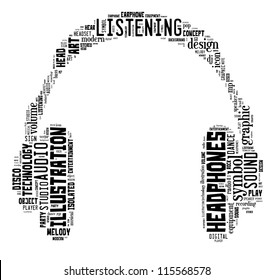 music & sound info-text graphics composed in headphone shape concept on white background