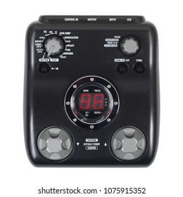 Music and sound - Musical instrument Guitar effects unit pedal looper front view isolated on a white background.