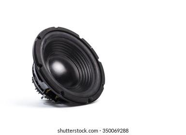 Music speaker on white background