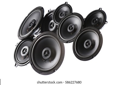 music speakers on a white background, isolated and collected into group.