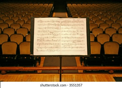 music stand and chairs in a theater,auditorium or opera