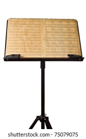 music stand with old sheet