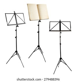 music stands with notes and blank isolated on white background (clipping paths included)