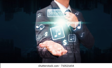 Music stream icon from business man