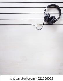 music studio background with dj  headphones